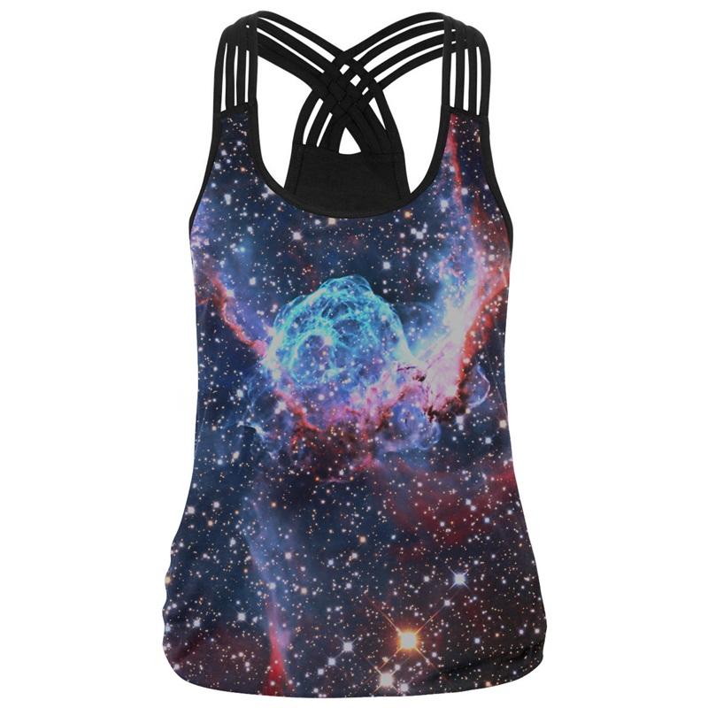Sleeveless Vest 3D Print Galaxy Block Round Neck Tank Top