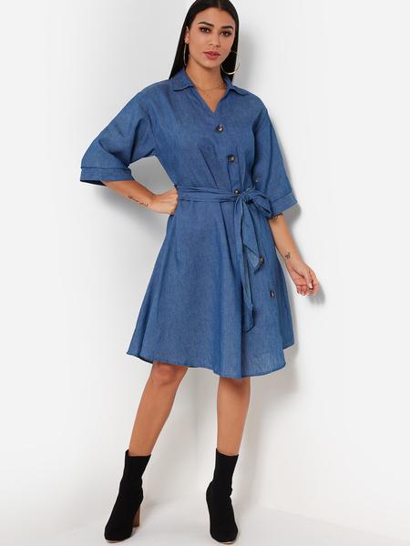 Yoins Dark Blue V neck Casual Dress With Belt