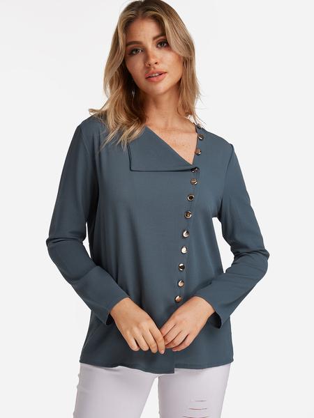 Yoins Green V Neck Irregular Fashion Shirt