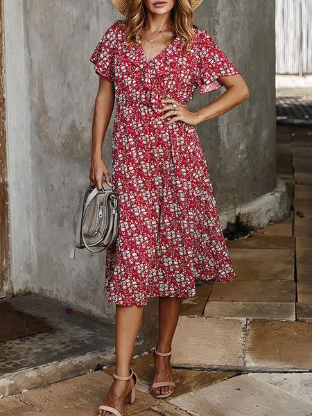 Milanoo Summer Dress V Neck Ruffles Ditsy Floral Printed Beach Dress