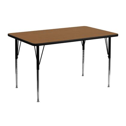 Xua Collection XU-A2448-REC-OAK-T-A-GG 48'' Activity Table with Standard Height Adjustable Legs  Rectangular Shape  Powder Coated Tubular Steel and