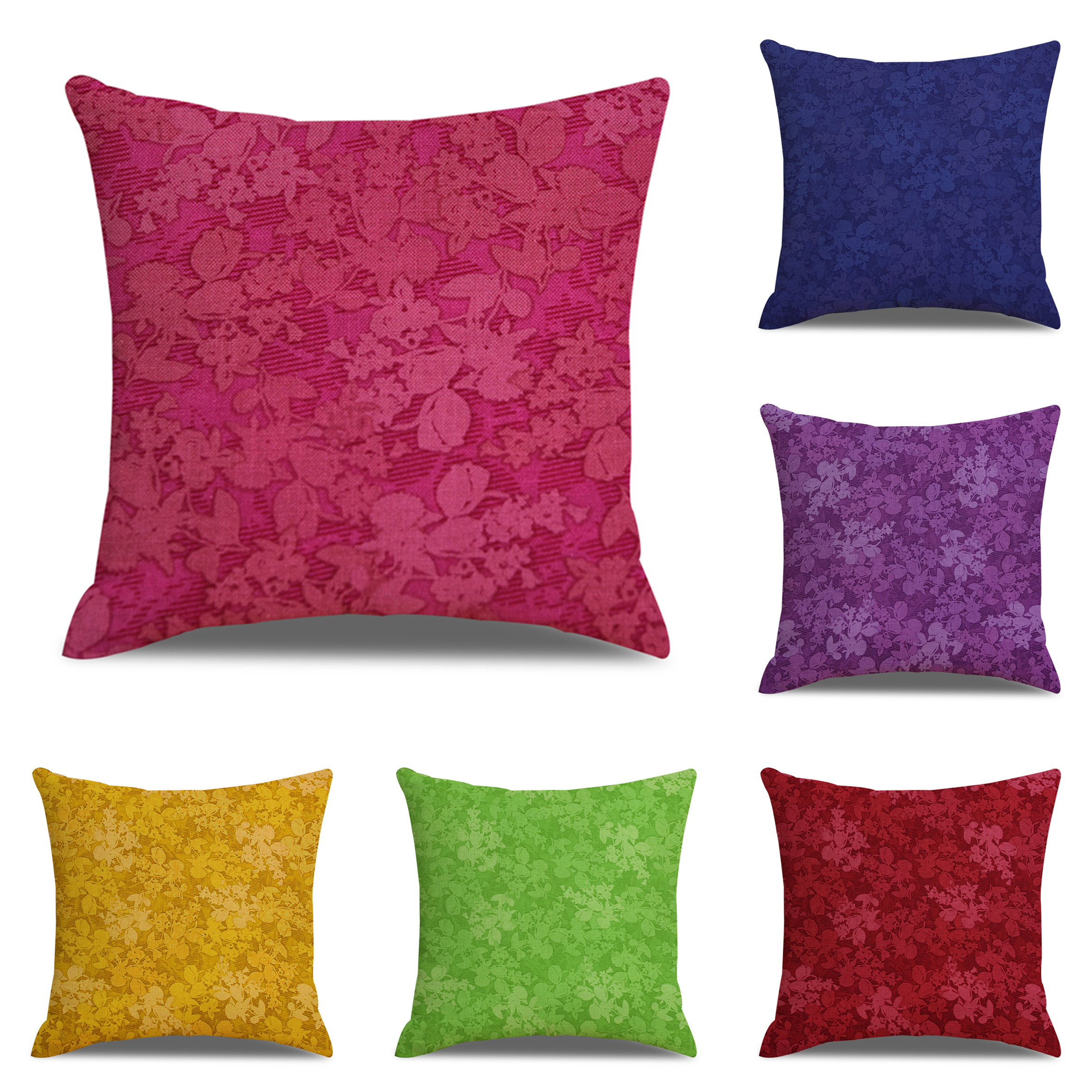 Classical Solid Color Floral Printed Linen Cushion Cover Home Sofa Art Decor Back Throw Pillow Cover