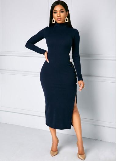 Cocktail Party Dress Side Slit Button Long Sleeve Turtleneck Dress - L