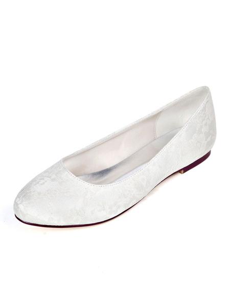 Milanoo Womens Flat Wedding Shoes White Lace Round Toe Bridal Shoes