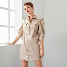 Shirt Kleid mit Puffaermeln, Taschen Klappen und Knopfen vorn