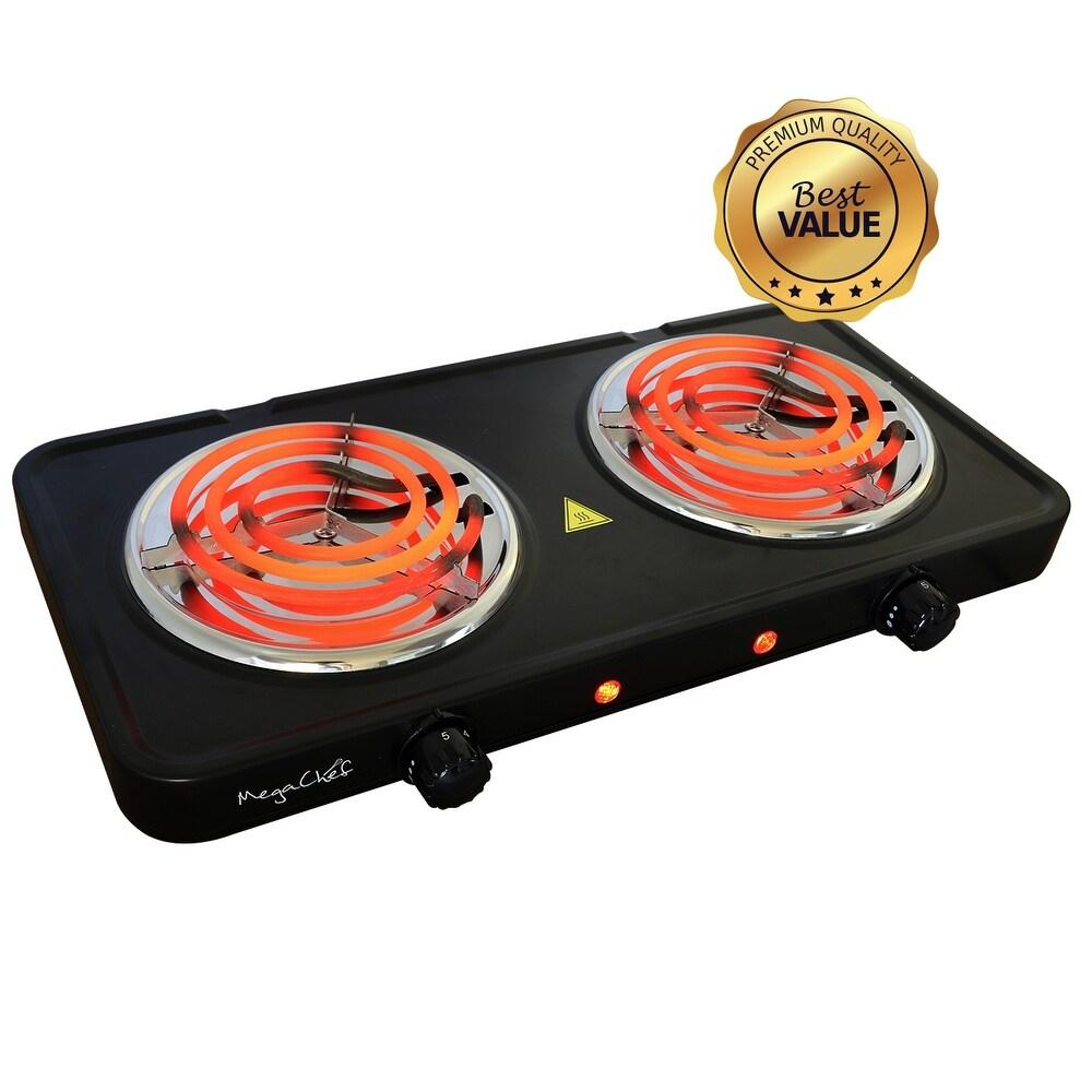 MegaChef Portable Double Burner Electric Coil Cooktop in Black (Black)