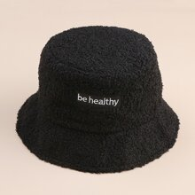 Letter Graphic Fluffy Bucket Hat
