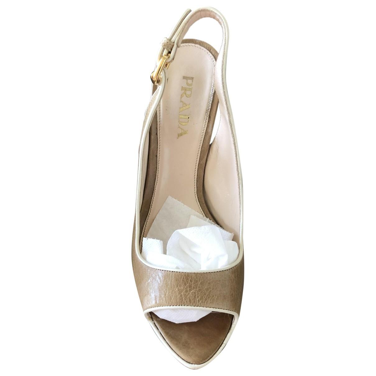 Prada \N Beige Leather Sandals for Women 35.5 EU