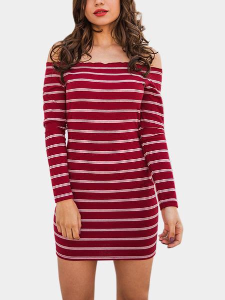 Yoins Burgundy Knitting Design Stripe Off The Shoulder Long Sleeves Dresses