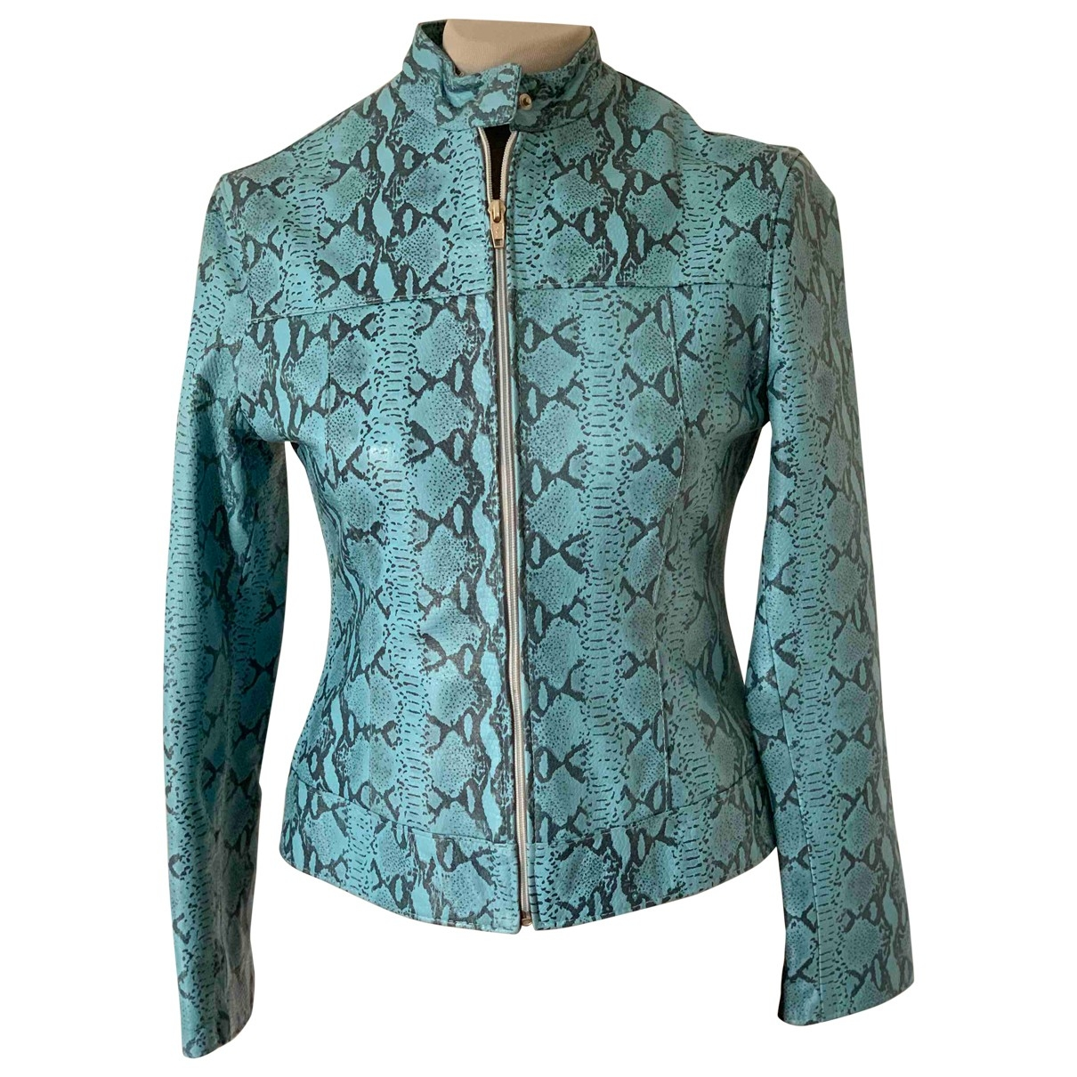 Non Signé / Unsigned \N Turquoise Leather Leather jacket for Women 42 IT
