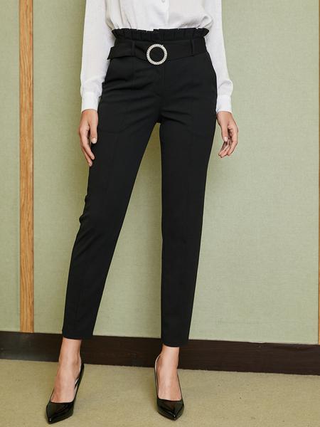 YOINS Black Belt Design High-Waisted Pants