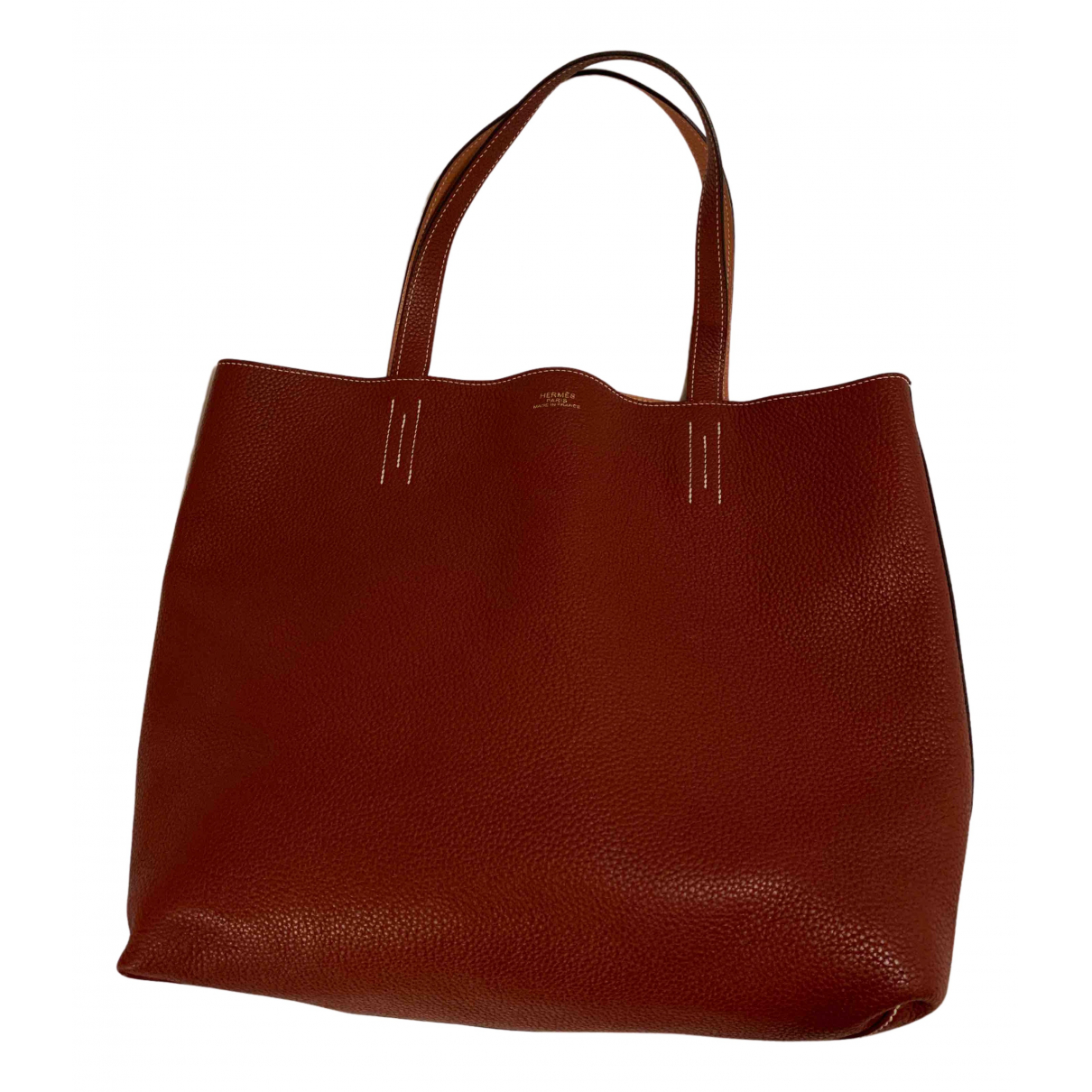 Hermes Double sens Handtasche in  Rot Leder