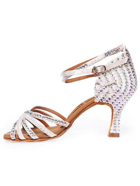 Milanoo Latin Dance Shoes White Open Toe Studded Ballroom Dance Shoes