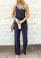 Presale - Hollow Out Ruffled Spaghetti Strap Jumpsuit - Navy Blue