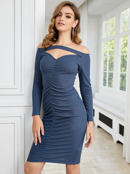 YOINS Blue Cut Out Ruched Off The Shoulder Long Sleeves Dress