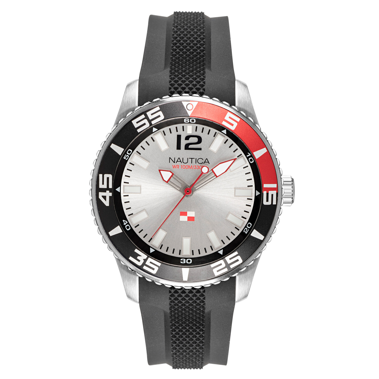 Nautica Watch NAPPBP904 Pacific Beach, Analog, Water Resistant, Luminous Hands, Silicone Band, Buckle Clasp, White