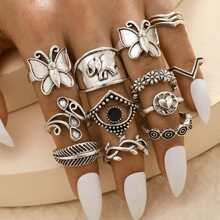 14pcs Butterfly & Elephant Ring
