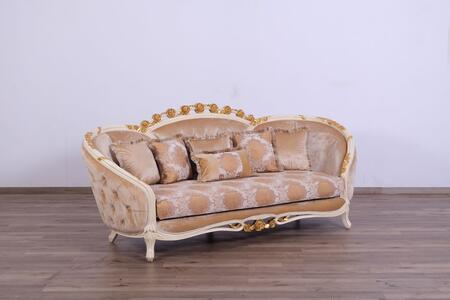 Valentine Collection Luxury Sofa  Hand Carved and Handcrafted  Seat Cushions Reversible  in Beige and Dark