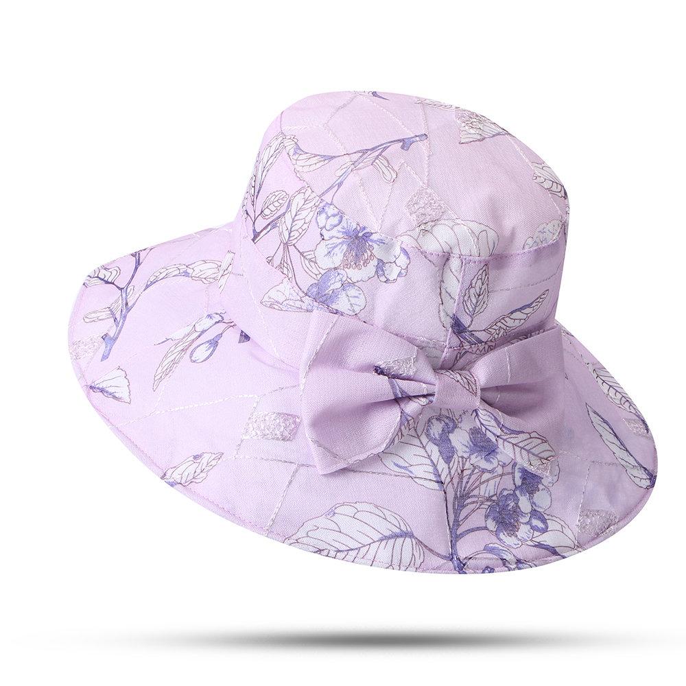 Women Bow Flower Sunscreen Bucket Hat Outdoor Casual Foldable Travel Beach Sea Hat