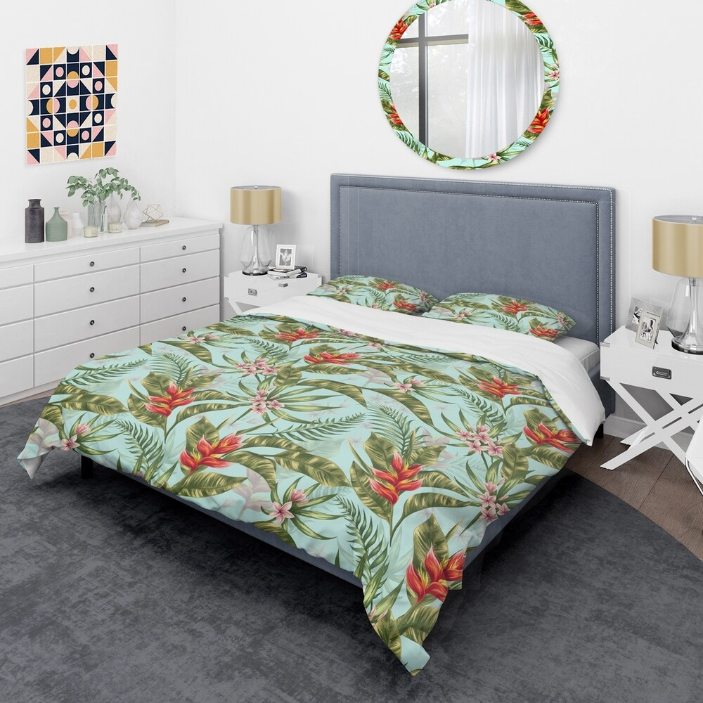 Designart 'Tropical Foliage II' Mid-Century Duvet Cover Set (Twin Cover + 1 sham (comforter not included))