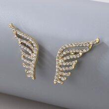 Rhinestone Decor Wing Design Stud Earrings