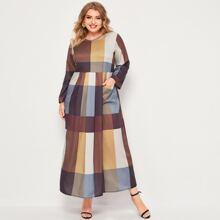 Maxi Kleid mit V-Kragen, Taschen Flicken und Karo Muster