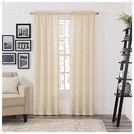 Pairs To Go Brockwell Light-Filtering Rod-Pocket Set of 2 Curtain Panel, One Size , Beige