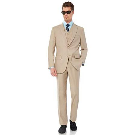 Mens Single Breasted Two Button Modern Fit Tan Suit