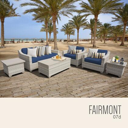 FAIRMONT-07d-NAVY Fairmont 7 Piece Outdoor Wicker Patio Furniture Set 07d with 2 Covers: Beige and