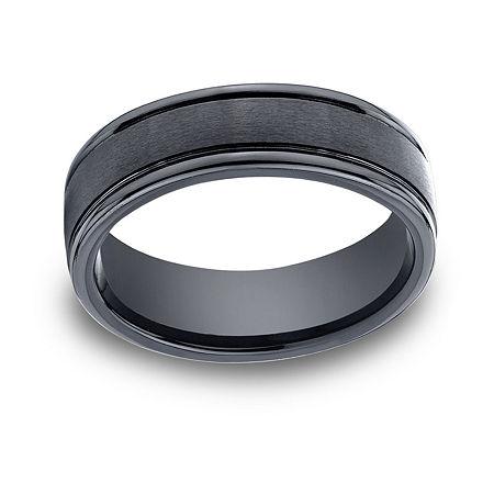 Mens Comfort Fit 7mm Black Cobalt Wedding Band, 12 1/2 , No Color Family