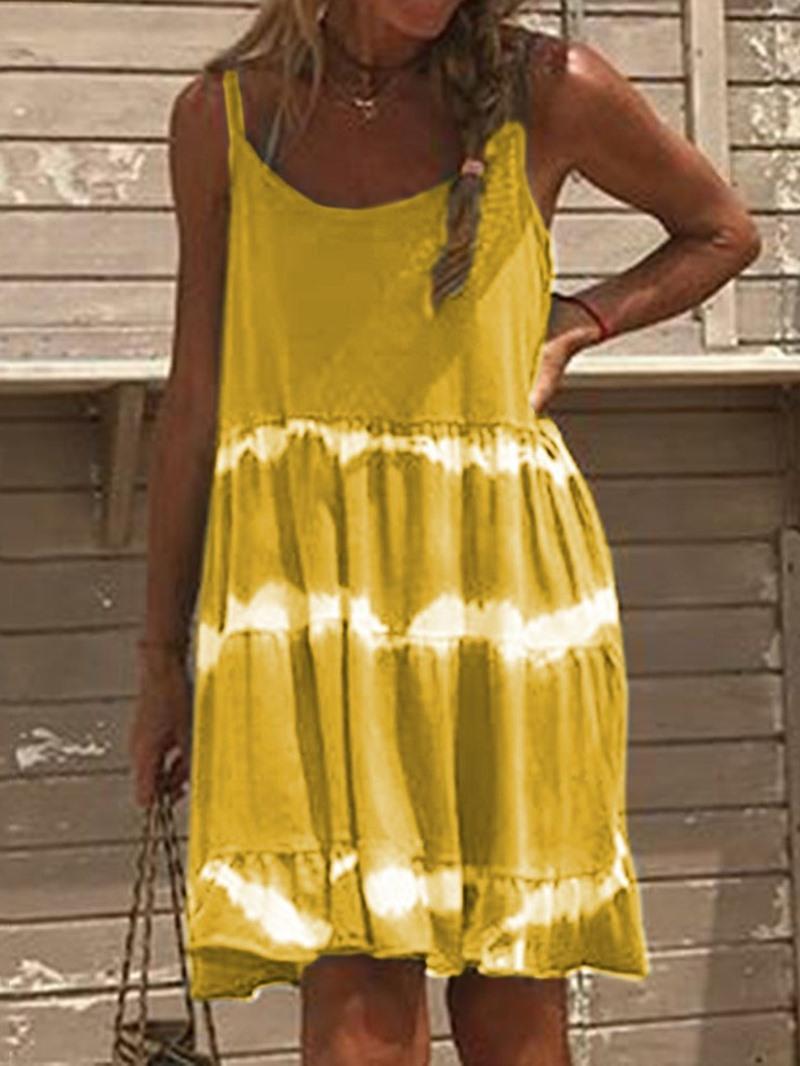 Ericdress Sleeveless Above Knee Print Casual Color Block Dress