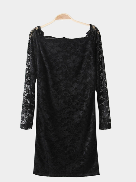 Yoins Fashion Black All Over Lace Party Dress