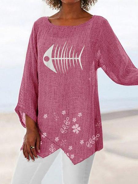 Milanoo Oversized Tees Fish Print Women T Shirt