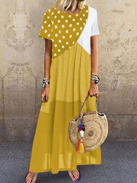 Milanoo Vestidos largos Bohemio de manga corta Vestido largo de poliester de color dividido