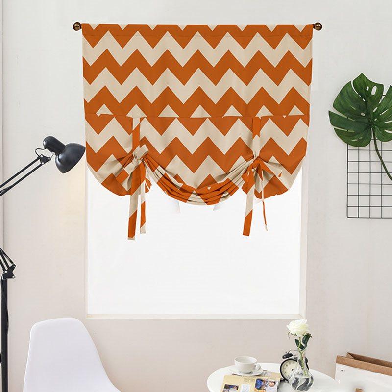 Thick Polyester Blackout and Waterproof Geometric Stripe Decorative Modern Roman Shades