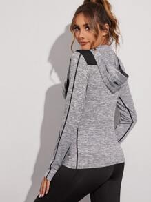 Striped Topstitching Hooded Sports Sweatshirt