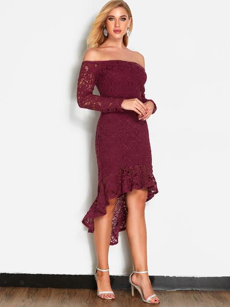 Yoins Burgundy Lace Off Shoulder Fashion Party Dress