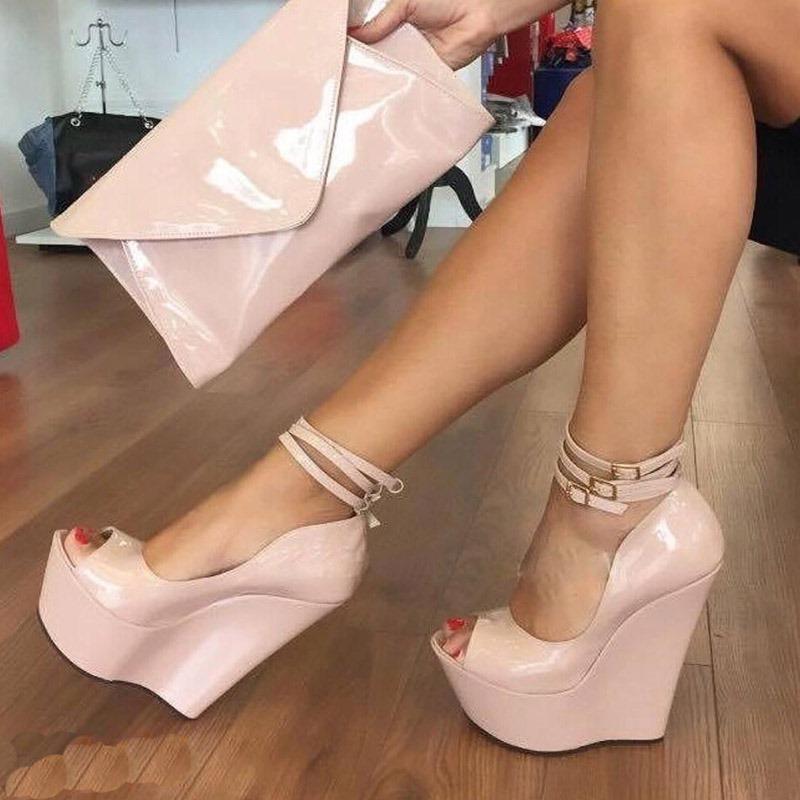 Ericdress Plain Platform Peep Toe Wedge Sandals