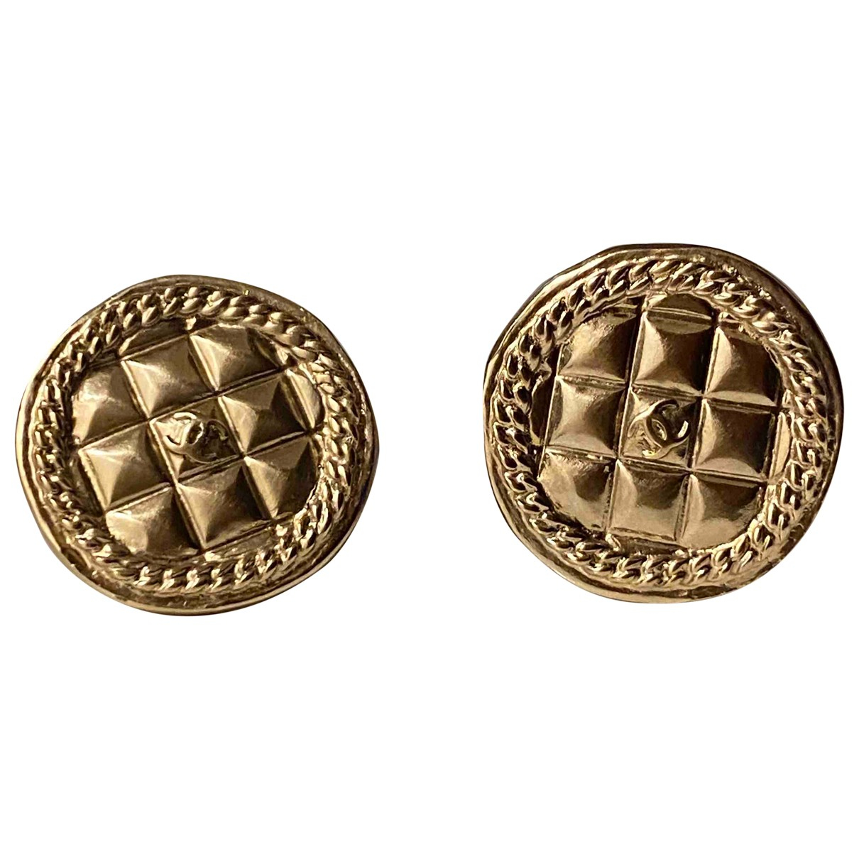 Chanel - Boucles doreilles Matelasse pour femme en metal - dore