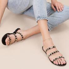 Jelly Sandalen mit offener Zehenpartie, Riemen und Nieten