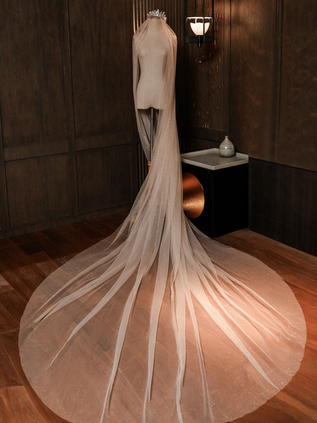 Milanoo Velo de novia Velo de novia clasico de dos niveles de encaje con corte de tul