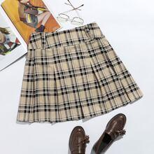 Plus Tartan Pleated Skirt