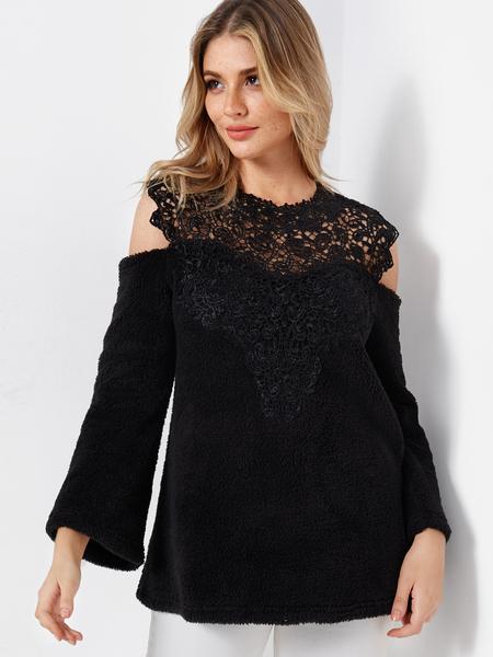 Yoins Black Lace Insert Plain Cold Shoulder Long Sleeves Woolen Sweatshirts