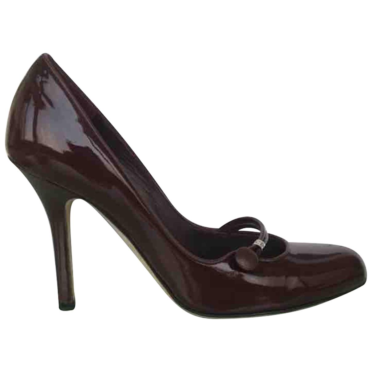 Dior - Escarpins   pour femme en cuir verni - bordeaux