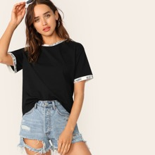Contrast Cuff & Neck Letter Tape Tee
