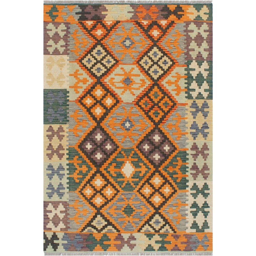 Boho Chic Turkish Kilim Edgar Hand-Woven Area Rug - 3'3