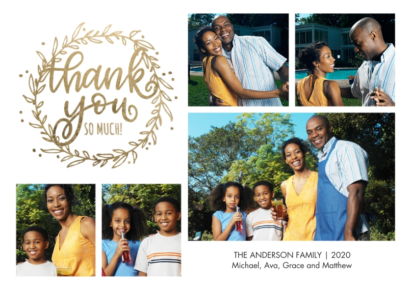 Thank You Cards 5x7 Cards, Standard Cardstock 85lb, Card & Stationery -Thank You Botanical by Tumbalina