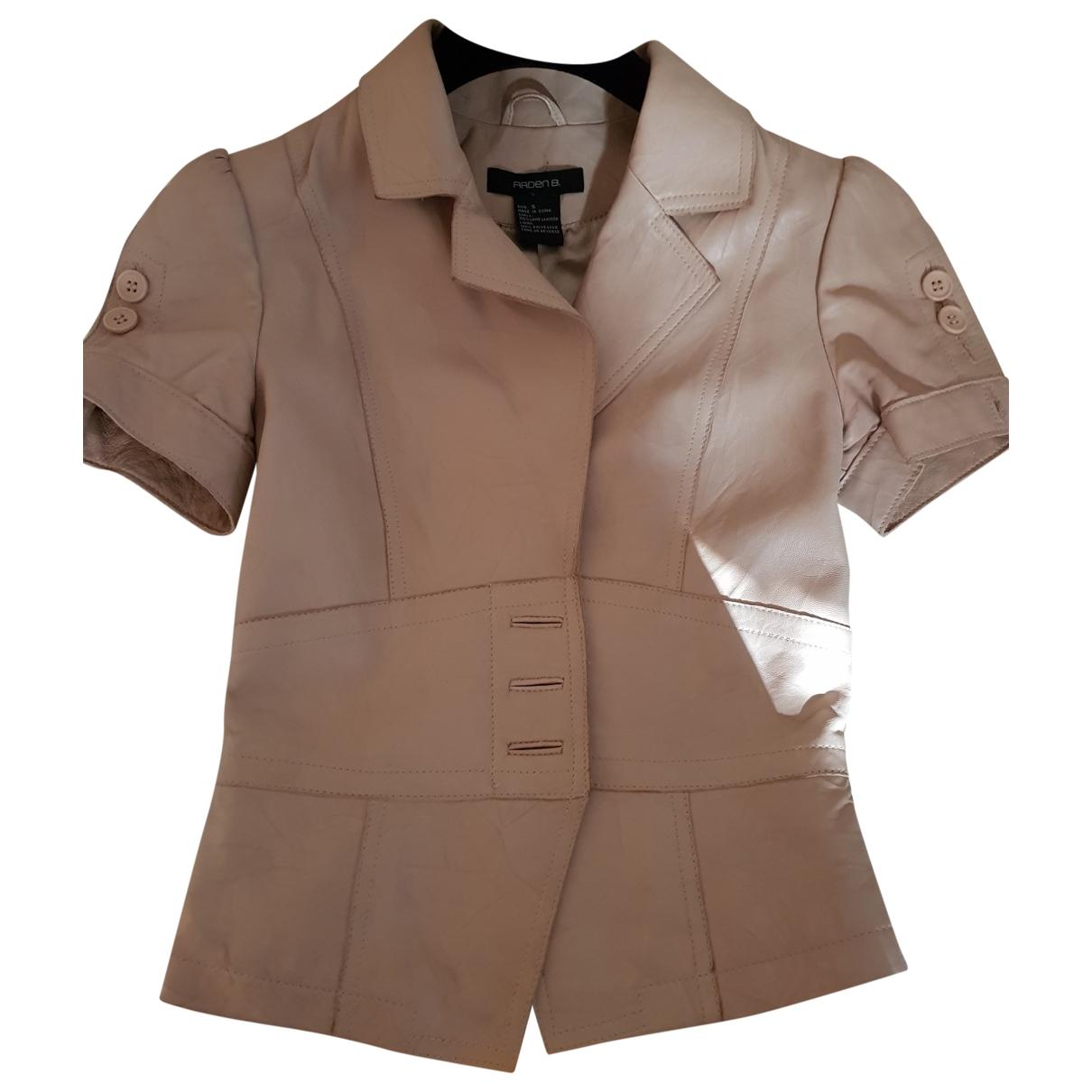 - Blouson   pour femme en cuir - beige