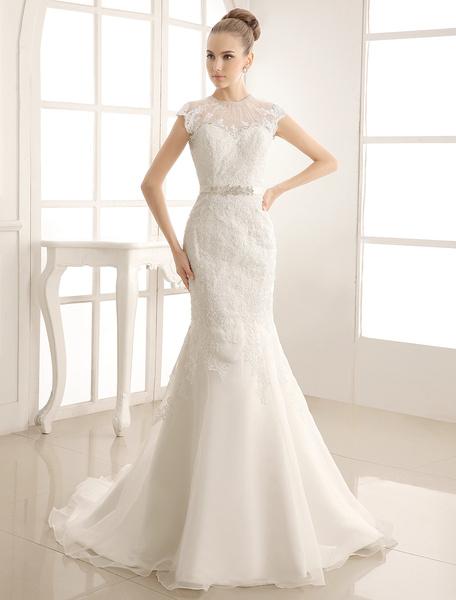 Milanoo Vestido de novia con escote alto de cola capilla