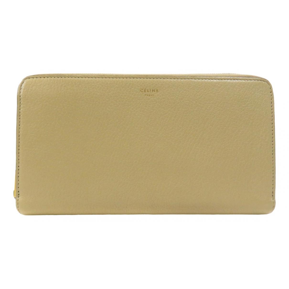 Celine - Portefeuille   pour femme en cuir - beige